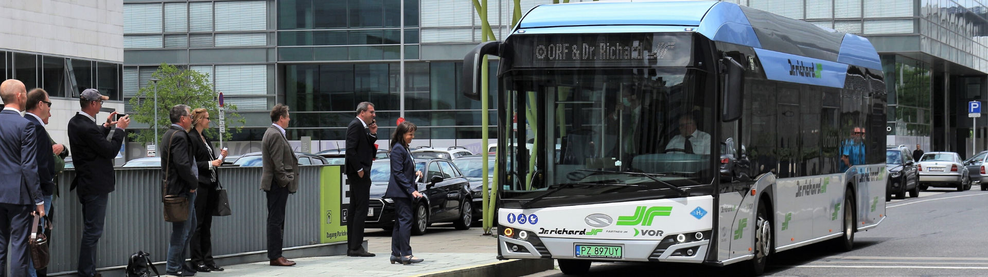 Dr. Richard Group testing a hydrogen bus by Solaris